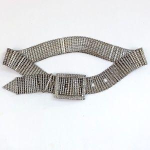 VTG 90s Club Girl Rhinestone Jeweled Metal Belt